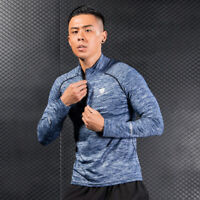 Men's Sports Mock Neck 1/4 Zip Shirt Running Gym Hiking Training Tops Quick-dry
