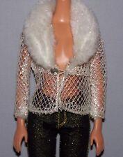 Barbie Doll Clothes White Faux Fur Trim Fishnet Mesh Peekaboo Jacket Top