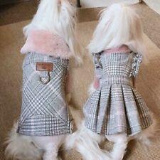 Dog Check Dress Faux Woolen Striped Cute Clothes Ruffle Pet Costume Winter