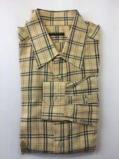 Sisley Men Dress Shirt Brown Plaid Long Sleeve Cotton Spread Collar Medium
