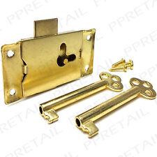 LARGE 63mm BRASS CUPBOARD LOCK 2 KEYS + SCREWS Cabinet/Drawer/Wardrobe Door