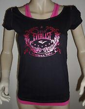 Nuevas señoras Everlast Negro/rosa Mock capa Mira Camiseta Top Talla 10