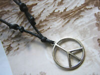 A Black Cord Necklace with CND Peace Sign ( 24mm ) Pendant.Tribal,Surf, Ethnic