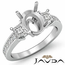 Diamond Engagement 3 Stone Unique Ring Princess Oval Mount 18k White Gold 0.8Ct