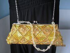 Evening Goldtone  Clutch Purse Crossbody Satin Bag Beads Sequins  NWT