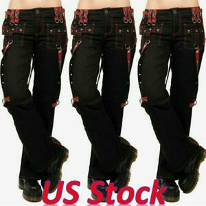 Women Casual Steampunk Gothic Plaid Mid Waist Retro Pants Leggings Trousers Size