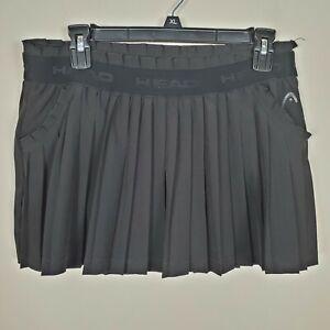 Head black pleated pockets shorts skort tennis size medium skirt elastic waist