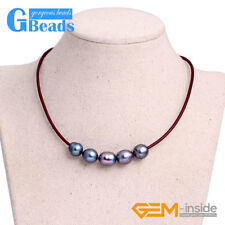 """Fashion Jewelry 9-10mm 5 Pearls Strand Red Rope Necklace Adjustable Size 17.5"""""""