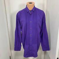 Steer West Western ruffles mens long sleeve Shirt USA purple cowboy rodeo XL