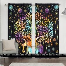 Tree of Life Elephant Mandala Ethnic Window Door Curtains Cotton Drape Curtains