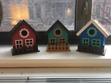 Hand Painted Wooden Houses - set of 3
