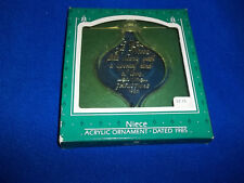 1985 Hallmark Niece Ornament Acrylic Dated Keepsake Christmas Love