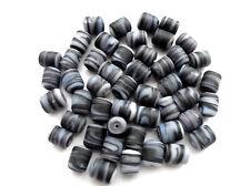 Matt Glas Zylinder Schwarz Weiß Mix 30 Stück 10 x 8 mm