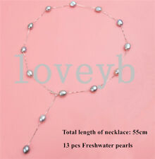 12mm Freshwater Pearl Necklace 925 Sterling Silver Chain  Pendant Necklace