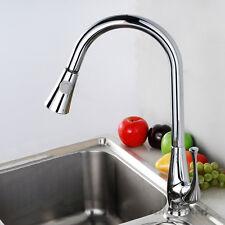 Modern Single Lever Kitchen Sink Mixer Tap Swivel Spout Pull Down Faucet Spray