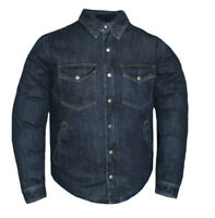 Mens Club Style Blue Denim Motorcycle Biker Shirt With Concealed Carry Pockets