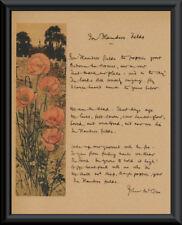 Wwi In Flanders Fields John McCrae Reprint On Original Period Paper Canada *P030
