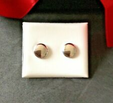 NEW IN BOX. 9CT WHITE GOLD STUD EARRINGS.