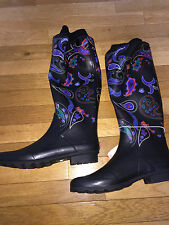 COUGAR BOOTS JUBE BLACK PAISELY TALL RUBBER RAINBOOTS SZ 10 NEW