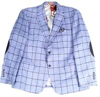 Tallia Mens Suit Separate Jacket Blue Size 46 Windowpane Slim Fit $350 #085