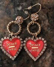 BETSEY JOHNSON RARE DO NOT ENTERTAXI GIRL DANGLE EARRINGS