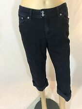 Chico's Platinum Womens Jeans Size 0.5 Capri Cropped Cuffed Black Denim Stretch