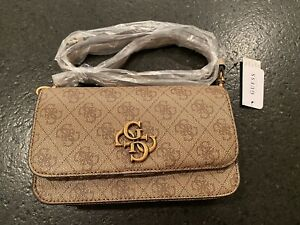 GUESS Noelle Wallet On A String, Mini Crossbody, Latte, BRAND NEW, FREE SHIPPING