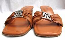 Brighton women's size 6 M leather slides medallion sandals shoes