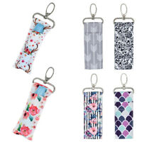 Portable Chapstick Holder Lipstick Pouch Key Ring Printing Keychain Bag Pendant
