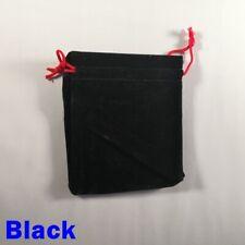 Black Faux Suede Dice Bag Large Plain Pouch RPG D&D 5e Pathfinder Red Drawstring