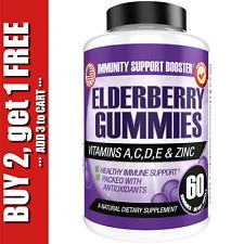 SAMBUCUS BLACK ELDERBERRY Gummies Immune System Support + Zinc & Vitamin C 60ct