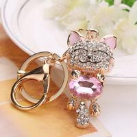 Crystal Lucky Smile Cat Keyring Bag Purse Car Key Chain Fashion Jewelry Key Ring