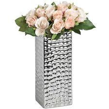 SQUARE SILVER CERAMIC DIMPLE EFFECT VASE - IDEAL FOR DISPLAYING FLOWERS