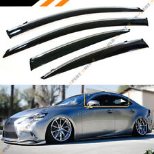 FOR 2014-18 LEXUS IS250 IS350 IS200T VIP CHROME TRIM CLIP ON SMOKE WINDOW VISOR