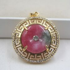 Lovely Heating Red Jade Round Shape with Fret Pattern Pendant in 18K GP 35mm H