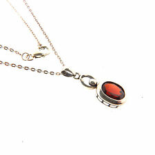 Sterling Silver Garnet Pendant Necklace Chain 1.4 ct .75x18 inch