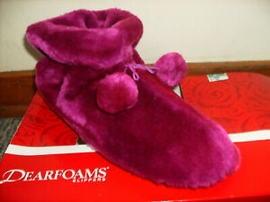PURPLE DEARFOAMS VELOUR BOOTIE SLIPPERS (L 9-10-1/2) MACHINE WASH NEW RARE!!