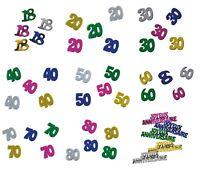 Confettis anniversaire decorations confetti de table metalique choix de chiffre