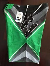 New Green Billabong PX3 Stretch Hawaii Hawaiian Islands Surf Board Shorts Sz 32