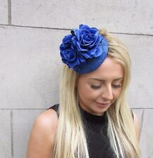 Royal Blue Rose Flower Fascinator Hat Wedding Hair Clip Races Headpiece 3149