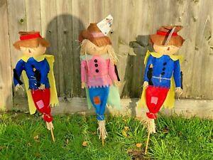 3 Decorative Rustic Scarecrows 60CM 12 Inches Deter Birds Pests Garden Lawn