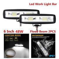 "2x 6"" 80W LED Work Light Flood Beam Bar Driving Fog Lamp Offroad 4WD Waterproof"