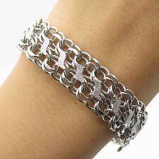 """Vtg 925 Sterling Silver Double Link Wide Charm Bracelet 7"""""""