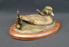 Big Sky Carvers Wood Duck Decoy Bronze Sculpture- Walnut Stand