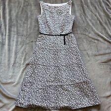 Liz Claiborne Women's Dress Size 4 Flared A-Line Black White Sleeveless Cotton