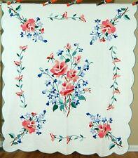 Beautiful Vintage 40's Rose Bouquet Applique Antique Quilt ~Great Colors!
