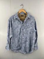 St John's Bay Men's Vintage Long Sleeve Soft Corduroy Floral Shirt Size M Blue