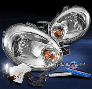 FOR 2003 2004 2005 DODGE NEON REPLACEMENT CHROME HEADLIGHT +BLUE LED DRL+HID KIT