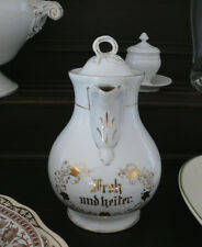 """antike Kaffeekanne aus Porzellan, """"Froh und heiter"""", weiß/gold Dekor"""