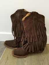 Tanner Mark Mocha Fringe Western Boot Size 6.5 TMLL 14000